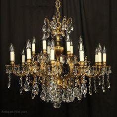 Antiques Atlas - Italian Gilded 18 Light Antique Chandelier Light Decorations, Gilded, Leaves Candle, Light, Italian Chandelier, Crystal Chandelier, Candle Sconces, Chandelier, Ceiling Rose