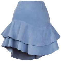 Siobhan Molloy - Lashes Baby Blue Calf Suede Skirt (1.560 BRL) ❤ liked on Polyvore featuring skirts, frilly skirt, ruffle mini skirt, yoke skirt, baby blue mini skirt and flouncy skirt
