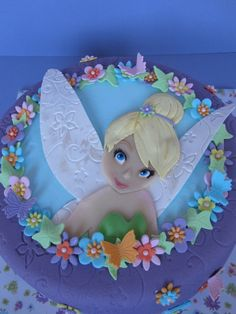 Children's Birthday Cakes - Tinkerbell cake for a sweet little girl. Girly Cakes, Cute Cakes, Fairy Birthday, Birthday Cake Girls, Bolo Fack, Tinkerbell Party, Character Cakes, Disney Cakes, Cake Creations