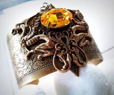 Gryphon Tear  Aged brass filigree cuff  Fantasy by ValkyrieCouture, $69.00