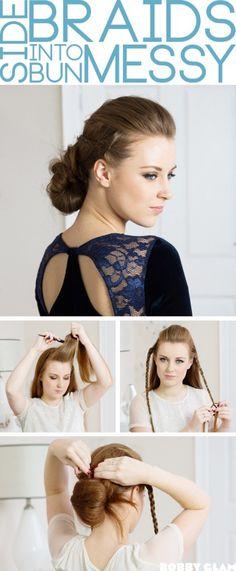 Side Braids into a Messy Bun Hair Tutorial braids with messy bun full – Bobby Glam Blog