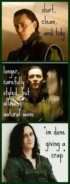 Loki's mood through hairstyles.