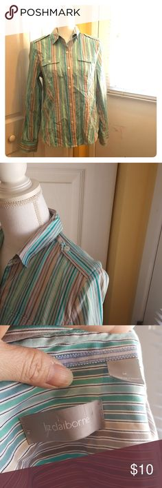 Liz Claiborne office wear Long sleeve and button down shirt and in excellent condition. Only worn it twice and been hanging in my closet for the longest time. Liz Claiborne Tops Button Down Shirts