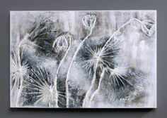 Abstract Flower Artwork - Lotus Morning Haze Oil Painting