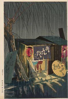 "furtho: ""Tomikichiro Tokuriki's night street scene, Japan (via here) """