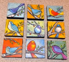 Lots of cute small canvases of my favorite (made up) little birds! All are on wraparound canvas and in my etsy store - just c. Lots of cute small canvases of my favorite (made up) little birds! Club D'art, Art Club, Mini Toile, Arte Elemental, Classe D'art, 7th Grade Art, Art Projects For Adults, Small Paintings, Bird Paintings On Canvas