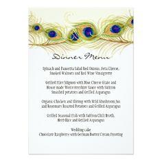 Peacock Wedding Menu Modern Swirl Peacock Feathers Monogram Monogrammed Card