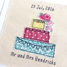 Personalised wedding cake card machine embroidered by DottyOnline