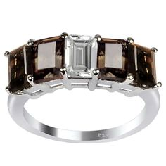 Orchid Jewelry 925 Sterling Silver 3 Carat Smoky Quartz and Topaz Ring
