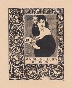 ***Art Nouveau bookplate attributed to J. W. Simpson