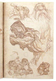 Justin Gerard Sketchbook 2013 The Four Dwarves, Justin  Gerard