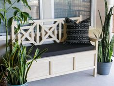 40 Chic Ideas for Patios and Porches on a Budget | HGTV Patio Storage Bench, Diy Bench, Wood Storage, Bench Swing, Storage Stool, Patio Bench, Storage Area, Diy Patio, Storage Baskets