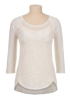 High-low mixed knit and lace top - maurices.com