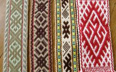 Latvian bands brought from Latvia in 2011 by a friend of Laverne Waddington and shared on Laverne's backstrap weaving web site.
