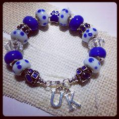 FREE SHIP University of Kentucky Wildcats European bead bracelet