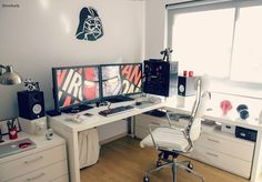 black & white workspace