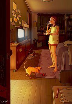 Anime art, dog illustration, digital illustration, living with dogs, single Cartoon Kunst, Cartoon Art, Living With Dogs, Alone Art, Dog Illustration, Digital Illustration, Website Illustration, Illustration Artists, Digital Art Girl