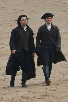 Aidan Turner as Ross Poldark and Luke Norris as Dr Enys At Holywell the other day. Poldark Season 4, Poldark 2015, Demelza Poldark, Ross Poldark, Poldark Series 4, Luke Norris, Ross And Demelza, Aidan Turner Poldark, Aiden Turner