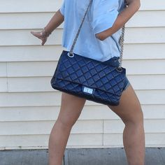 Rare Chanel Reissue 228 blue metallic excellent Dustbag. Not slouchy. Coded #12. Discontinued. Excellent CHANEL Bags