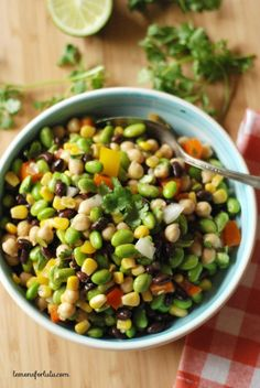 Black beans, corn, garbanzo beans and edamame are tossed with a southwestern flavored vinaigrette