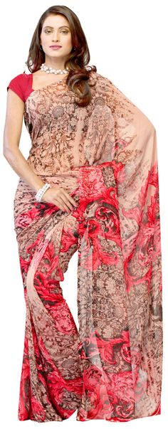 Art #Printed Cream & #Red Colored #Saree