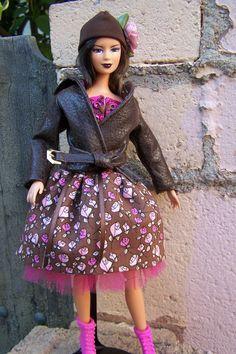 "OOAK ""Ballroom Blitz"" corset, skirt and jacket for Fashionista or bellybutton Barbie. $30.00, via Etsy."