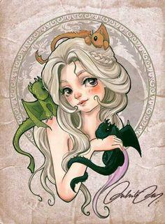 Daenerys Targaryen: Chibi style fan art by duhi Game Of Thrones Artwork, Game Of Thrones Fans, Got Dragons, Mother Of Dragons, Daenerys Targaryen, Khaleesi, Chibi, My Champion, Nerd