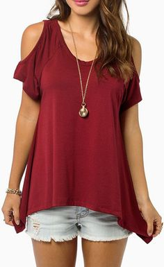 Short Sleeve Off-the-shoulder Red T Shirt