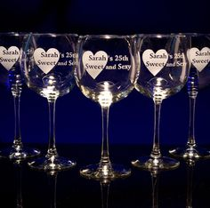 custom engraved balloon wine glasses from GlassWithATwist.com