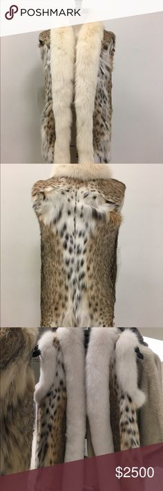 Lynx fur vest Beautiful, never worn lynx fur vest with cream fox fur trim. Compare with a similar vest being sold  in Saks for $4195.00 Fur Vault Jackets & Coats Vests