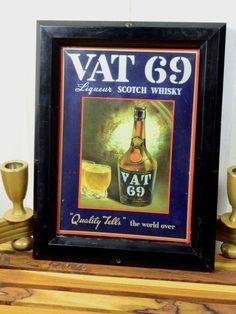 Whiskey Framed Print VAT 69 Small Vintage Advertisement Wall Art For Man Cave or Bar Black by fancypak on Etsy https://www.etsy.com/listing/267061164/whiskey-framed-print-vat-69-small
