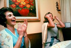 The wives of Apollo 8 astronauts when finally hearing their husbands voices in flight, December 1968.