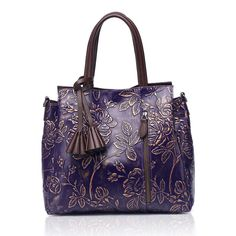 APHISON Designer Unique Embossed Floral Cowhide Leather Tote Style Ladies Top Handle Bags Handbag >>> You can get additional details at the image link. (This is an affiliate link) Cow Leather, Leather Handle, Cowhide Leather, Vegan Leather, Vera Bradley Tote, Zip Wallet, Tote Handbags, Shoulder Bag, Tote Bag