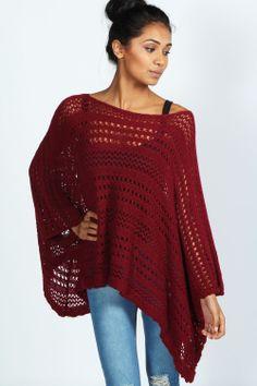 Charlotte Knitted Poncho at boohoo.com