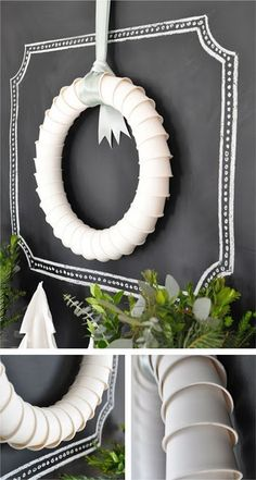 DIY Paper Cup Wreath. But what I really like is the wall!
