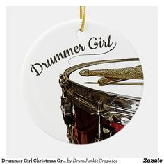 Wish your favorite female drummer a Happy Holiday with this snare drum and drumsticks Christmas ornament. Check out www.drumjunkiegraphics.com for more great drummer merch and musician gifts - all designed by a drummer! #drummerchristmas #musicianchristmas #snaredrum #drummergirl #drumjunkie