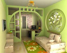 trennwand kinderzimmer lern wohnbereich grüne wandfarbe