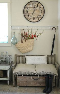 Shabby chic decor with a sisal woven basket with flowering branches. The gray wa. Shabby chic decor with a sisal woven basket with flowering branches. The gray walls and the rustic wooden bench add more earth charm to this space. Shabby Chic Flur, Shabby Chic Entryway, Shabby Chic Homes, Shabby Chic Decor, Entryway Decor, Vintage Decor, Rustic Decor, Farmhouse Decor, Entryway Ideas