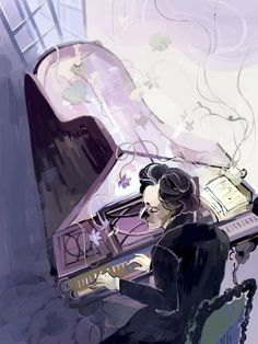 """pncaillustration: """" When composer Frédéric Chopin died in 1849 (at the age of one of his students covered his grave with as many violets as she could find. Today, visitors to his grave still leave violets. Illustration by Julien Tipton. Film Inspiration, Painting Inspiration, Classical Music Composers, Piano Art, Bedroom Wall Collage, Cute Anime Boy, Anime Scenery, Musical, Watercolor Paintings"""