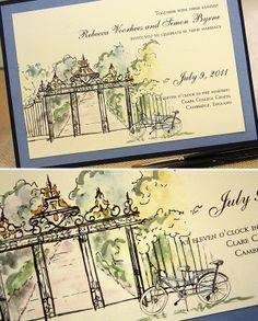 hand-painted wedding invitations - gouache and ink