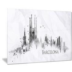 Designart 'Barcelona Silhouette' Cityscape Painting Metal Wall Art
