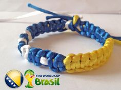 BOSNIA and HERZEGOVINA flag WORLD Cup Brazil 2014 Red Yellow Unique Handmade Square Paracord Solomon Bar Macrame Hemp Knot Knotted Bracelet by SmeRuci on Etsy