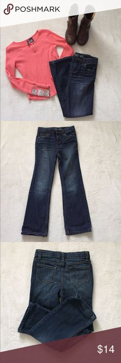 Cherokee Boot Cut Jeans Cute Cherokee boot cut jeans..maybe worn a few times..zipper and snap closure with adjustable waist band..excellent condition Cherokee Bottoms Jeans