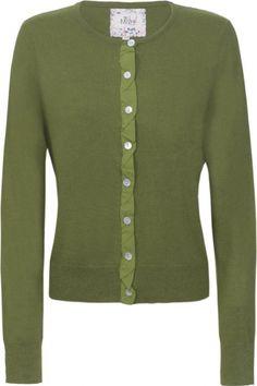 MISTRAL Cotton Voile Twist Trim Cardi Rich Green