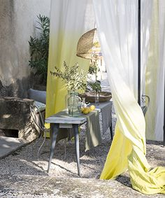 dip dyed sunny yellow linen - Designers Guild.  Cobalt blue is stunning as well!