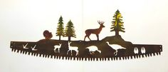 Excited to share this item from my shop: Buck & Turkey in Crosscut Saw Blade Indoor or Outdoor Wildlife Metal Wall Art Kitchen Metal Wall Art, Outdoor Metal Wall Art, Metal Art, Mountain Cabin Decor, Tom Turkey, Deer Family, Whitetail Bucks, Compass Rose, Art Themes