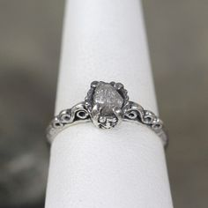 Raw Diamond Ring Sterling Silver Filigree Ring by ASecondTime