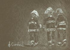 Car2016-007a Sylvie Cardinal Devoir Accompli 3 5x7 by LOISOROUGE.deviantart.com… Firefighter, Pastel, Deviantart, Bird, Black And White, Drawings, Movies, Movie Posters, Red