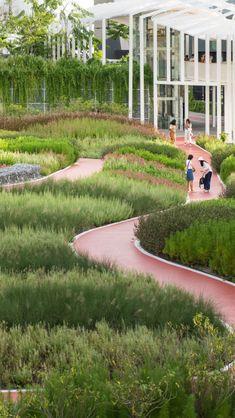 Mega Park | LANDSCAPE COLLABORATION Landscape And Urbanism, Park Landscape, Forest Landscape, Urban Landscape, Landscape Design, What Is Landscape, Water Playground, Urban Park, Parking Design