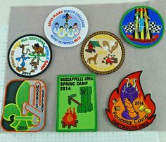 Lot of 7 Boy Scout Badges Patches Camps Rallies Challenge 2014 Cub Scout Badges, Cub Scouts, Girl Scouts, Boy Scout Patches, Scout Activities, Scout Camping, Vintage Boys, Bible For Kids, Scouting